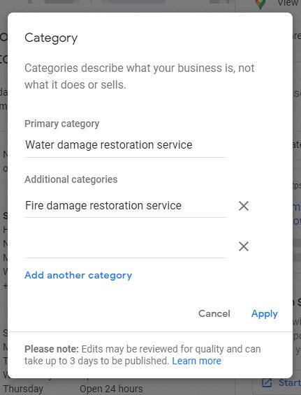 Restoration GMB Additional Categories
