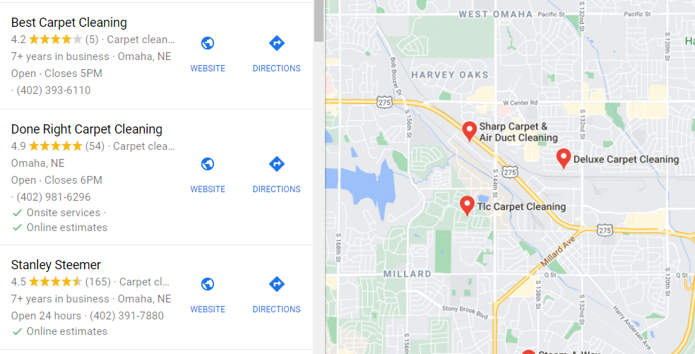 Carpet Cleaning Local SEO Example