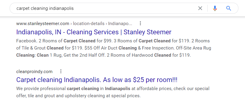 Carpet Cleaning SEO Example