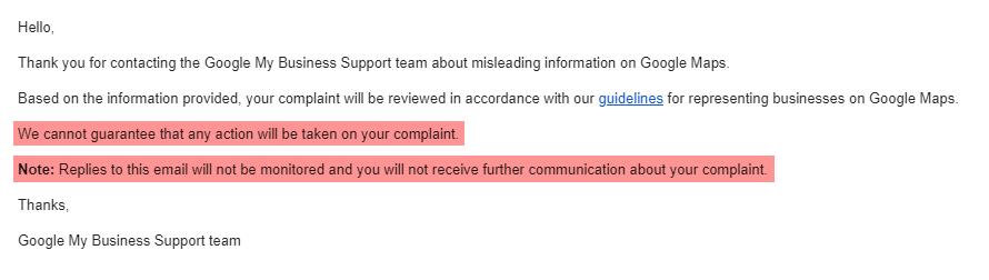 Google Redressal Form Reply